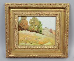 This is a beautiful estate found oil painting on canvas dating to the early 20th century. The striking landscape scene features rolling hills dotted with tress with colorfully changing leaves. Set within a giltwood gesso frame. | eBay!