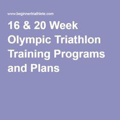 16 & 20 Week Olympic Triathlon Training Programs and Plans
