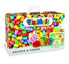 PlayMais FUN TO LEARN Colors & Forms. Das macht Spaß und fördert gleichzeitig die Kreativität: kleine Kunsthandwerker können mit Farben und Farben experimentieren, indem sie Figuren, Gegenstände oder Fantasiegebilde zusammenkleben. Die Packung enthält mehr als 550 PlayMais, Utensilien zur Modellage, 14 bedruckte Karten zum Bekleben, um spielerisch die Welt der verschiedenen Formen zu entdecken und eine Anleitung. Verpackung: ca. 30 x 12 x 20 cm