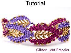 Gilded Leaf Bracelet Beaded Russian Leaves Beadwoven Bracelet Downloadable PDF Beading Tutorial Pattern