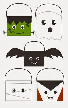 Ideas para cestas Halloween. DIY Halloween baskets http://manualidades.euroresidentes.com/2013/10/cesta-de-calabaza-para-halloween.html