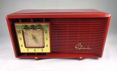 Restored Vintage Sylvania 5484 Antique Tube Clock Radio Ravishing Red   eBay