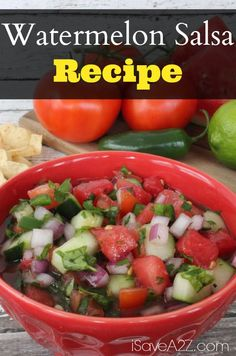 2 cup diced Watermelon 1 cup diced Red Onion 1 cup diced Cucumber 1 cup diced Tomatoes ⅓ cup chopped Cilantro ¼ cup minced Jalapeno 2 tbsp Lime Juice Kosher Salt (to taste) Fresh Ground Pepper (to taste) Stir together and refrigerate for one hour. Fruit Recipes, Appetizer Recipes, Vegan Recipes, Cooking Recipes, Appetizers, Easy Meal Plans, Easy Meals, Watermelon Salsa, A Food