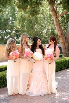 Beautiful in blush: http://www.stylemepretty.com/california-weddings/2015/02/02/sunset-inspired-newport-wedding/ | Photography: Gavin Wade Photographers  - gavinwadephoto.com