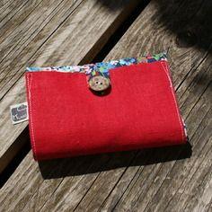 Tote bag/ sac de course pliable en coton bio à fleurs multicolores et lin rouge