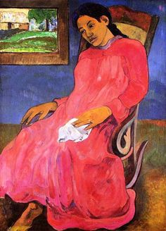 Melancholic by Paul Gauguin in oil on canvas, done in Now in Nelson-Atkins Museum of Art. Find a fine art print of this Paul Gauguin painting. Paul Gauguin, Henri Matisse, Henri Rousseau, Oil Canvas, Canvas Art, Painting Canvas, Canvas Prints, Figurative Kunst, Impressionist Artists