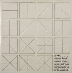 """softpyramid: """"Sol LeWitt Instructions for Straight Lines in Four Directions and All their Possible Combinations 1973 273 x 270 mm """""""