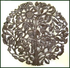 """The Tree of Life Art - Haitian Metal Wall Hanging - Recycled Steel Oil Drum - 34"""" _ $159.95 -   Steel Drum Metal Art from  Haiti - Interior or Garden Décor   * Found at  www.HaitiMetalArt.com"""