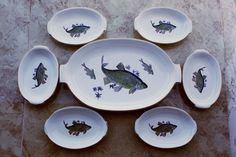 Lovely Vintage Israel Thick Porcelain Kedar Fish Platter Tray 6 Plates Set  Gold