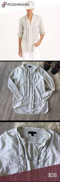 J. Crew Corded Popover Tunic J. Crew corded popover tunic in grey stripe and dusty linen. A Striped tunic in a feminine, floaty cotton finished with a corded trim detail. Worn just a handful of times, no flaws! J. Crew Tops