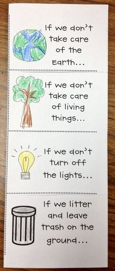 Earth Day- Cause and Effect flip booklet. Kids complete inside flap for each section