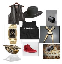 """Slumerican @yelawolf"" by kenneth-brown-1 on Polyvore featuring Overland Sheepskin Co., Excelled, men's fashion and menswear"