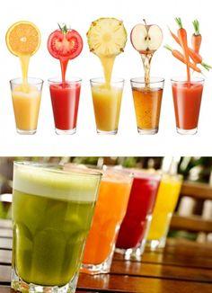 Limão com gengibre e tomate com pimenta : acelera a perda de peso Laranja com linhaça e cenoura com limão: sacia, desintoxica Abacaxi com maçã e gengibre: acelera o metabolismo. Suco de berinjela:  ajuda a emagrecer. Abacate com maçã e maçã com kiwi : inibidor de apetite natural. Melancia com abacaxi: é diurética e antioxidante. Suco verde: ajuda no emagrecimento, desintoxicante e rejuvenescedor.
