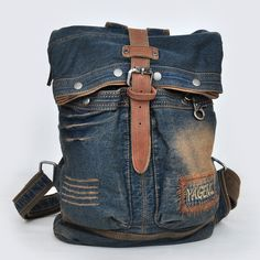 vintage denim backpack
