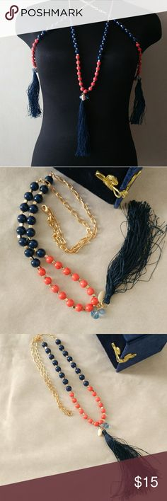 Perfect Beaded & Tasseled Boho Necklace New never worn. Great coral, blue and goldtone combination. 23 inches in length including tassel. Gorgeous piece don't miss out. Jewelry Necklaces