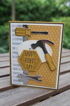 Happy Father's Day Card You Nailed It Stampin Up Card by katie Masculine Birthday Cards, Birthday Cards For Men, Masculine Cards, Male Birthday, Happy Fathers Day Images, Stampin Up, Karten Diy, Cricut Cards, Stamping Up Cards