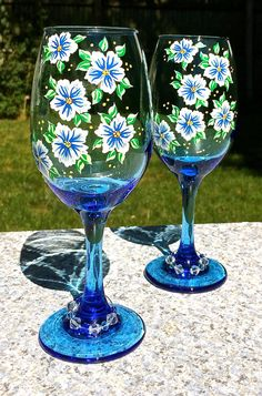 Hand Painted Blue Wine Glasses With White by ipaintitpretty