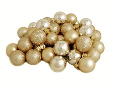32ct Shatterproof Champagne 4-Finish Christmas Ball Ornaments 3.25' (80mm) * To view further, visit now : Wedding Decor