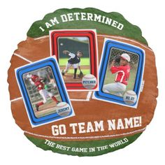 #photo - #Create Your Own Kid's Baseball Card Sports Collage Round Pillow