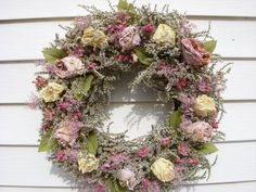 Victorian herb and dried roses wreath on vine in beautiful shabby chic colors