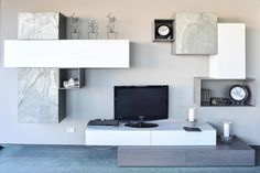 Living Room Units, Living Room Tv Cabinet, Living Room Tv Unit Designs, Tv Wall Design, New Homes, Studio, Home Decor, Ikea Living Room, Table Desk