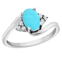 10K White Gold Natural Turquoise Ring Oval 7x5mm Diamond Accents, sizes 5 - 10