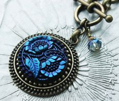 Midnight Blue Glass Necklace, Deep Dark, Luscious Color Button Necklace by veryDonna, $84.00