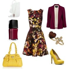 Yellow and Magenta Church Outfit Church Attire, Church Outfits, Church Clothes, Beauty And Fashion, Passion For Fashion, Burgundy Outfit, Derby Outfits, Fashion Outfits, Womens Fashion