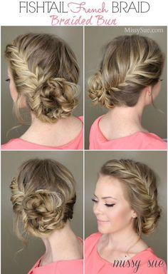 Fishtail french braid and braided bun. fishtail french braid and braided bun bridesmaid braided hairstyles Fancy Hairstyles, Beautiful Hairstyles, Wedding Hairstyles, Hairstyles 2016, Medium Hairstyles, Hairstyles Videos, Wedding Updo, Glasses Hairstyles, Braided Bun Hairstyles