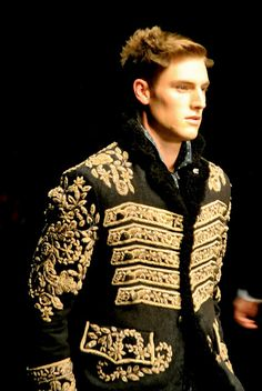 Male Black Gold Military Coat Jacket ◆ Neovictorian Modern Baroque Fashion ◆ Designer: Dolce and Gabbana TheClothesWhisperer