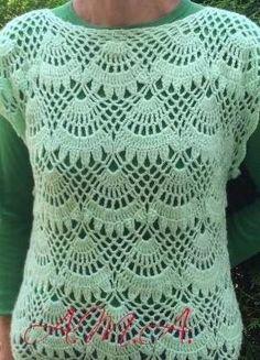 Egy újabb csodaszép és különleges mintával horgolt...női pulóver séma két minta kombinálásával ,ez lett az eredmény, lerajzoltam,2ráhajtásos pálcákkal készült, a 3 szám a kezdésnél= 3 lsz és a következőbe ölteni, az 5 =5 lsz...