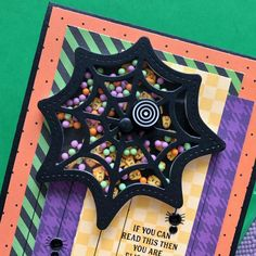 Spider Shaker Card, Spider Fest - Fright Fest Kit - Queen & Co Halloween Paper Crafts, Halloween Cards, Halloween Treats, Fall Halloween, The Black Web, Diy Party Gifts, Halloween Treat Holders, Shaker Cards, Fall Cards
