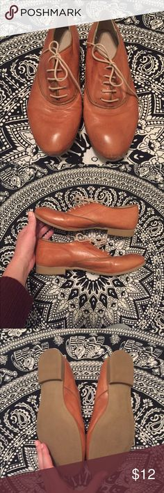 Little Brown Shoes Very cute little faux leather shoes. Some light discoloration on the leather but the soles have no sign of wear. Size 6. Shoes Flats & Loafers