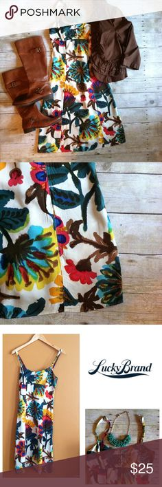"""Lucky Brand floral dress Bright flowers pop against a ivory backdrop. Elastic back panel. Front buttons. Adjustable straps. Add a jacket or cardi with boots for a perfect fall look. In excellent condition. 42""""L. 15.5"""" bust, 13.5"""" waist, 17"""" hips all laying flat. 100% rayon, material is not very stretchy. Please refer to measurements. Size XS. Lucky Brand Dresses"""