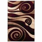 Sculpture Abstract Large Swirl Design Burgundy (Red) 5 ft. 1 in. x 7 ft. 1 in. Indoor Area Rug