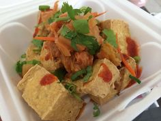 Fried tofu topped with kimchi from Taipei 101.