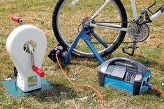 You can generate electricity using a hand-cranked or foot-operated device (left) or a modified bicycle. An inverter (right) changes the direct current into alternating current for use with many common household appliances.