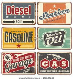Gas stations and car service vintage tin signs collection. Set of transportation retro metal signs and ads.