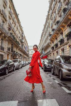 Red Polka Dot Dress with PVC Coat