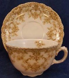 Antique 19thC Upper Hanley Kings Border Gold England China Tea Cup Saucer Set | eBay