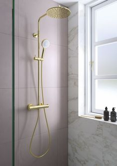Damixa Silhouet polished brass shower system with large pink tiles room facilitiesTri - Three Tier Iron Frame Shelf This practical yet beautiful iron wall shelf adds style & three layers of convenience to your home! Tiles Uk, Frame Shelf, Pink Tiles, Interior House Colors, Duravit, Home Decor Quotes, Modern Shower, Room Tiles, Shower Systems