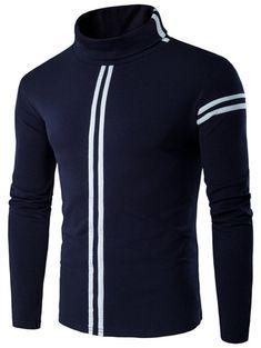 Roll Neck Varsity Stripe Long Sleeve T-Shirt #shoes, #jewelry, #women, #men, #hats