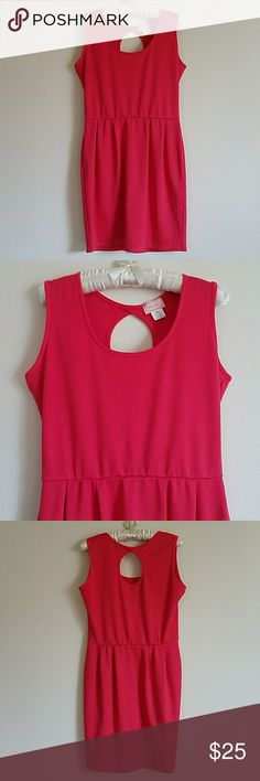 Love Ady Sleeveless Dress Adorable sleeveless dress that can be dressed up with a blazer or wear it by itself with a statement chi lee or bib for a night out. Color is a beautiful blend of pink and orange. No rips. No stains.  Love...ady Made in U.S.A.  86% Polyster 10% Rayon 4% Spandex  Make me an offer! Love Ady Dresses