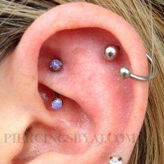 Piercings By AJ - Fresh rook piercing with titanium J-curve.Helix piercing with horseshoe ring. Rook Jewelry, Jewelry For Her, Rook Piercing Jewelry, Ear Piercings Rook, Ears Piercing, Body Piercing, Garnet Earrings, Stud Earrings, Bridesmaid Earrings