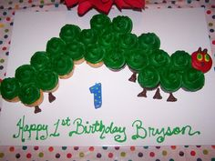 Very Hungry Caterpillar Birthday Cake Birthday Event Ideas, First Birthday Themes, 2nd Birthday Parties, First Birthdays, Birthday Stuff, Hungry Caterpillar Cupcakes, Very Hungry Caterpillar, Party Planning, Party Time