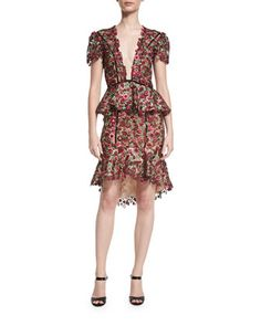Julia+Cornelia+Floral-Lace+V-Neck+Dress,+Red/Pink/Green+by+Johanna+Ortiz+at+Neiman+Marcus.