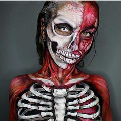 Muscle vs Skeleton using Mehron makeup Paradise Paints and Bruise Wheel #paradisemakeupaq #mehronperformance #mehrongirl #mehronmakeup #mehron #faceandbodypaint #veganmakeup