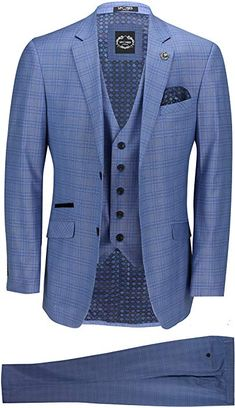 b2d218b02c7f Xposed New Mens 3 Piece Tailored Fit Blue Prince of Wales Check Smart  Formal Vintage Retro Suit [Sky Blue,Chest UK 36 EU 46,Trouser 30