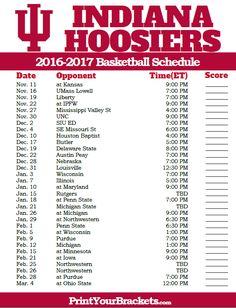 Indiana Hoosiers 2016-2017 College Basketball Schedule