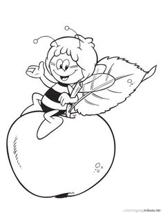 coloring page Maya the Bee on Kids-n-Fun. At Kids-n-Fun you will always find the nicest coloring pages first! Apple Coloring Pages, Cool Coloring Pages, Disney Coloring Pages, Printable Coloring Pages, Coloring Pages For Kids, Adult Coloring, Coloring Books, Bee Pictures, Colorful Pictures